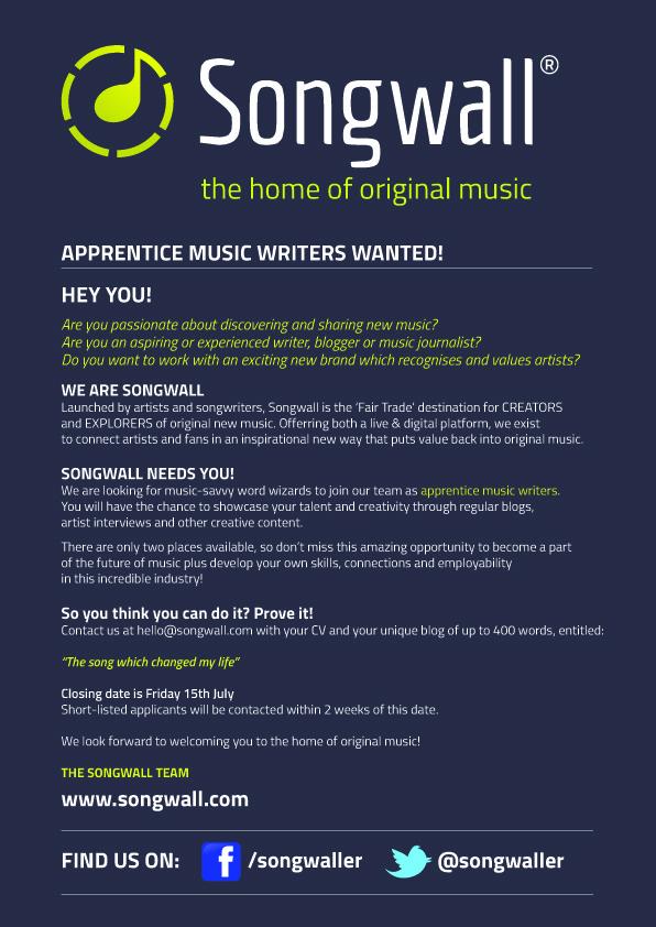 Songwall-music-start-up-apprentice-writer-blogger