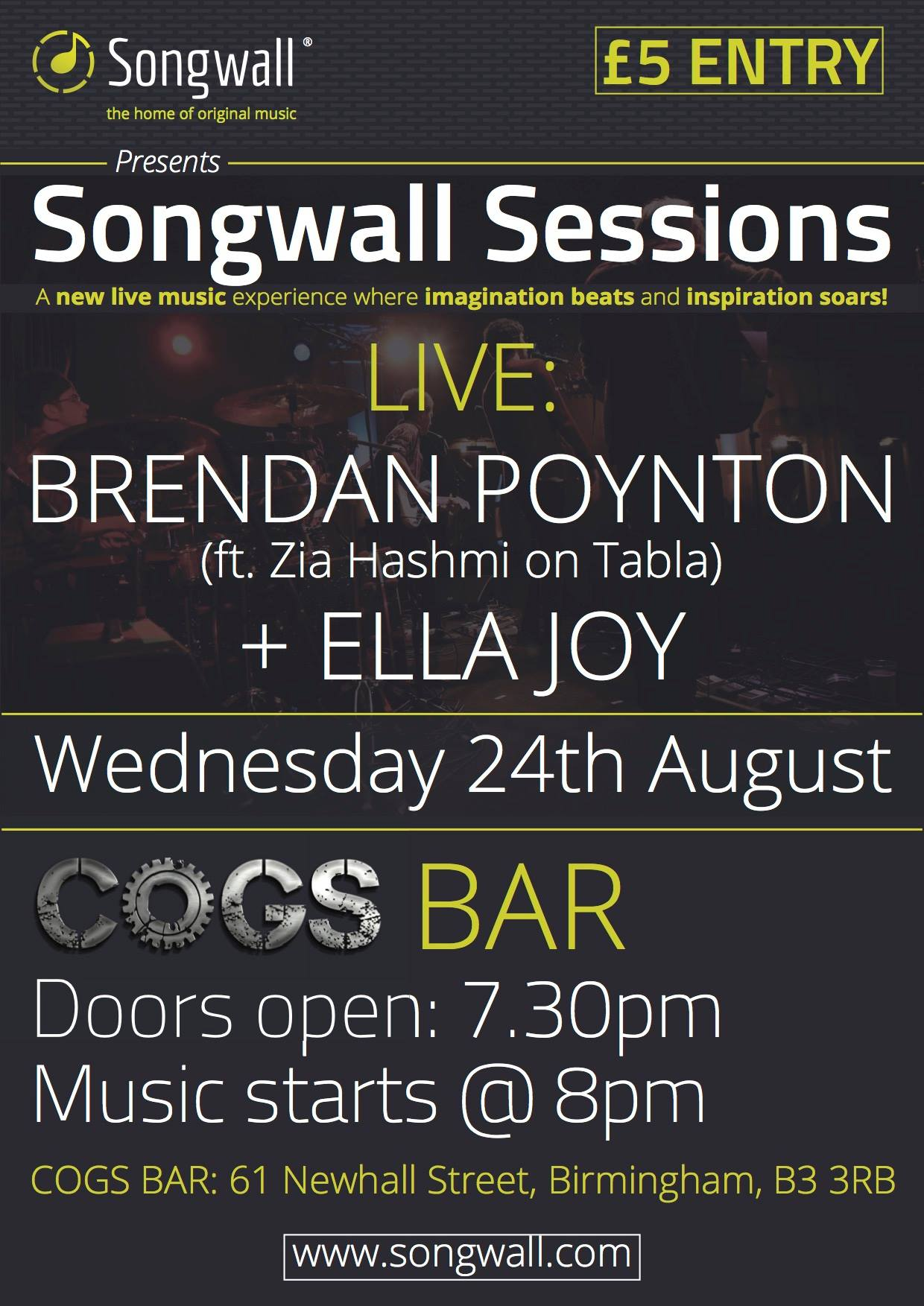 Songwall Sessions Cogs Bar